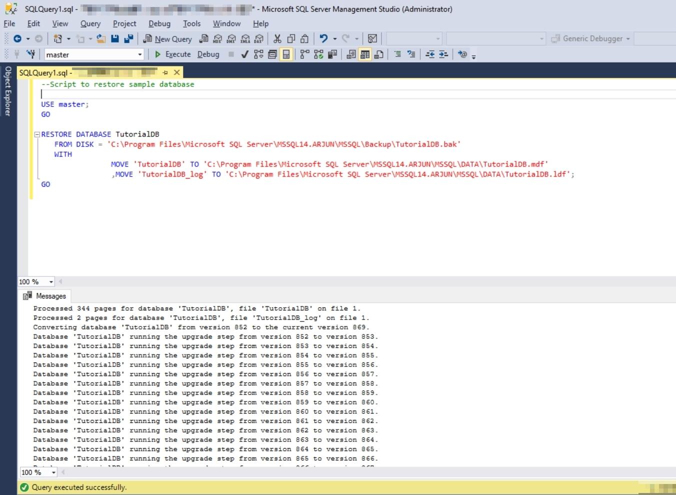 002_RestoreSampleDatabase-TutorialDB